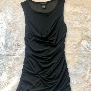 Tops - Black sheer v cut sheer black shirt top